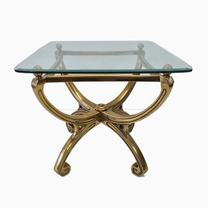 French Brass Sculptural Side Table with Glass Top, 1990s