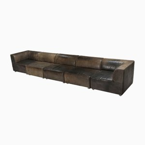 Patinated Leather Modular Corner Sofa from Durlet, 1980s