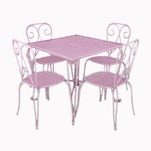 Juego de mesa y sillas de jardín vintage de hierro, años 60. Juego de 5