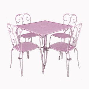 Vintage Iron Garden Table & Chairs Set, 1960s, Set of 5