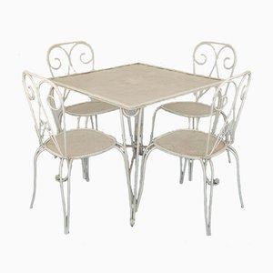 Vintage Iron Garden Table & Chairs Set, 1960s, Set of 5