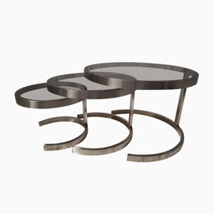 Stainless Steel and Smoked Glass Nesting Tables by Boris Tabacoff, 1970s