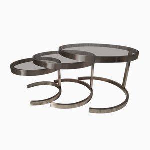 Tavolini a incastro in acciaio inossidabile e vetro fumé di Boris Tabacoff, anni '70