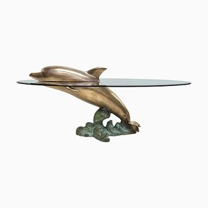Brass Sculptural Dolphin Coffee Table, 1970s