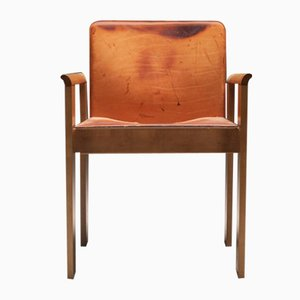 Italian Tan Leather Dining Chairs in the Style of Scarpa, 1970s, Set of 6