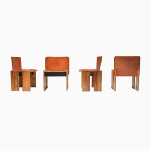 Cognac Leather Dining Chairs by Tobia & Afra Scarpa, 1970s, Set of 4