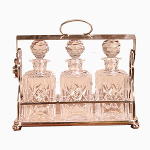 Antique Silver-Plated Metal Liquor Cellar with Crystal Bottles