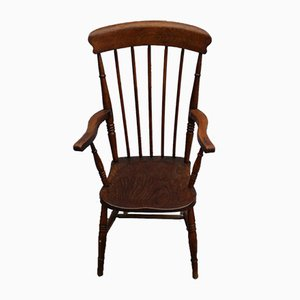 Country Oak Spindle Back Carver Armchair, 1920s