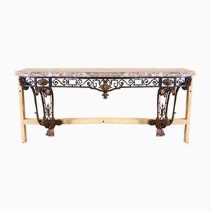19th Century Napoleon III Wrought Iron Console Table