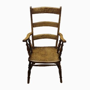 Antique Country Oak Barback Carver Armchair, 1910s
