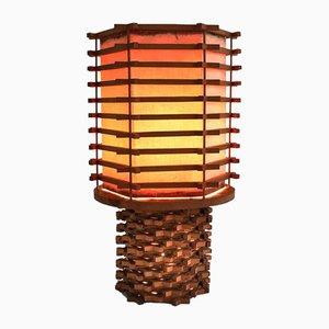 Asiatische Tischlampe aus Holz & Leinen, 1950er