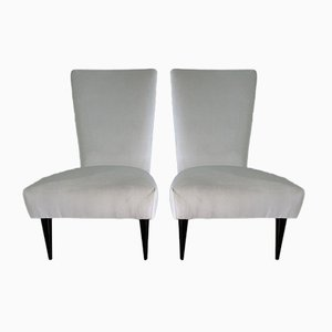 Italian Black Lacquered and White Velvet Armchairs, 1940s, Set of 2
