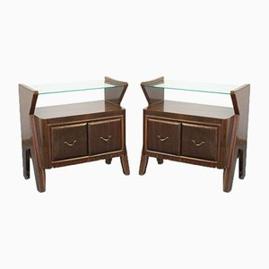 Vintage Wood and Glass Nightstands, 1950s, Set of 2
