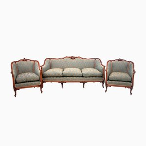 Vintage Louis Philippe Style French Armchairs and Sofa Set, 1920s