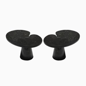 Black Marble Eros Series Side Tables by Angelo Mangiarotti for Skipper, 1970s, Set of 2