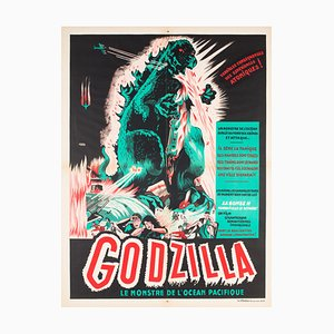 Póster francés vintage de la película Godzilla de A. Poucel, 1954