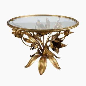 Gold Floral Side Table, 1970s