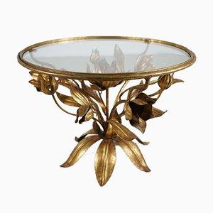 Tavolino con disegno floreale dorato, anni '70