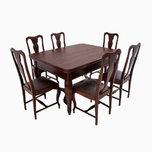 Antique Dining Table & Chairs Set, 1920s, Set of 7