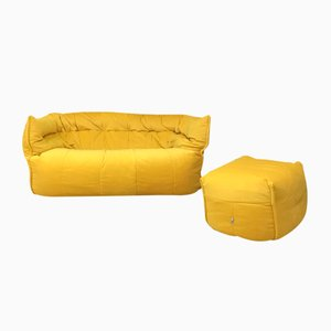 Vintage Brigantin Sofa and Footstool Set by Michel Ducaroy for Ligne Roset, 1970s