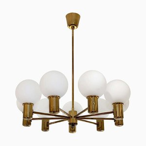 Mid-Century Brass and Glass 9-Arm Chandelier, 1970s