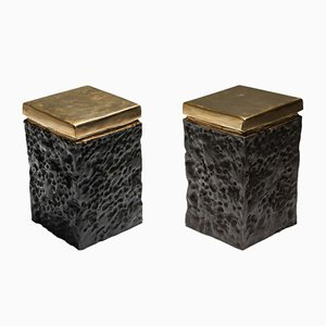 Black and Bronze Lava Stools, 1990s, Set of 2