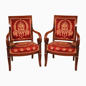 Antique Empire Mahogany Armchairs, Set of 2