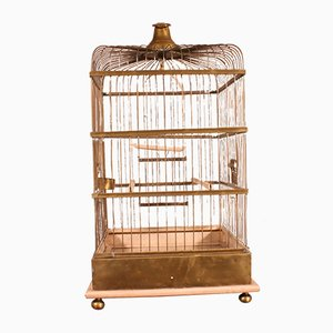 19th Century French Brass and Wood Parrot Cage