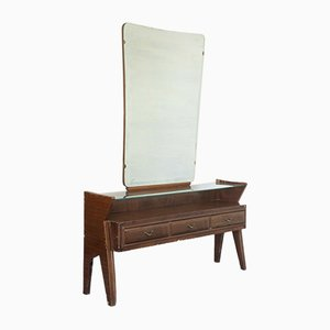 Vintage Holz Frisierkommode & Spiegel im Stil von Dassi, 1950er