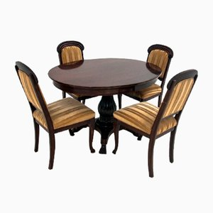 Antique Dining Table & Chairs Set, 1910s, Set of 5