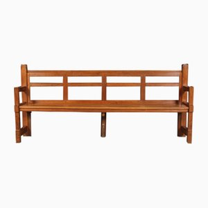 Antique Arts & Crafts Solid Oak Bench
