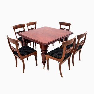 Large Antique Dining Table & Chairs Set, Set of 7