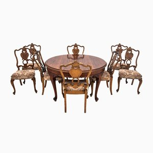 Antique Dining Table & Chairs Set, 1920s, Set of 9