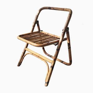 Mid-Century Bamboo Folding Chair with Brass Details, 1950s
