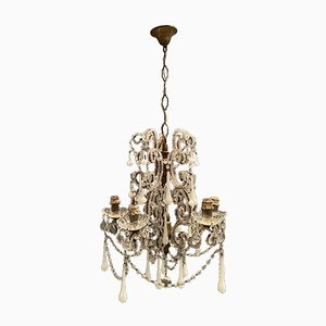 Vintage Crystal Beaded Chandelier with White Opaline Glass Pendants, 1940s