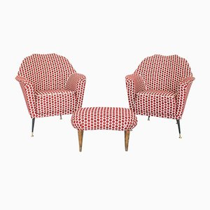 Red Polka Dot Lounge Chairs & Footstool by Ico Luisa Parisi, 1970s, Set of 3