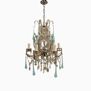 Vintage Macaroni Crystal Chandelier with Light Blue Opaline Glass Pendants, 1940s