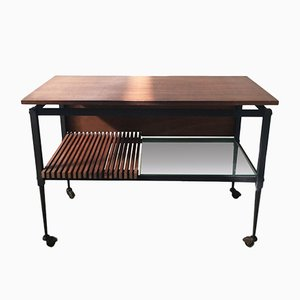 Mid-Century Black Iron Coffee Table with Clear Glass and Wooden Shelves