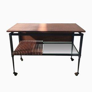 Tavolino da caffè Mid-Century in ferro nero e vetro trasparente e legno