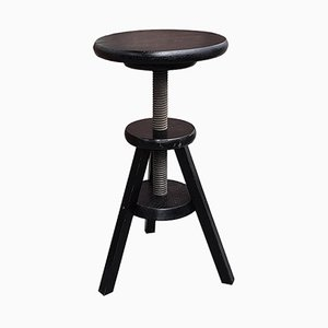 Mid-Century Adjustable Wooden Swivel Stool