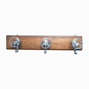 Mid-Century Brushed Steel and Solid Wood Wall Coat Rack