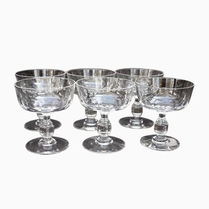 Vintage Crystal Model Côtes Plates Champagne Glasses, Set of 6