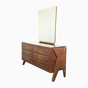 Cassettiera e specchio vintage in legno nello stile di Dassi, anni '50