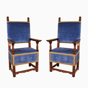 Antique Italian Walnut Armchairs, 1600s, Set of 2