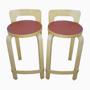 Finnish Model K65 Bar Stools by Alvar Aalto for Artek, 1970s, Set of 2