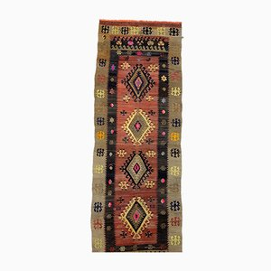 Large Vintage Turkish Red, Black, and Beige Square Wool Kilim Runner Rug, 1950s