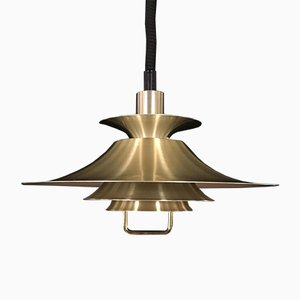 Large Danish Brass Model 1033-P Pendant Lamp from Frandsen, 1970s