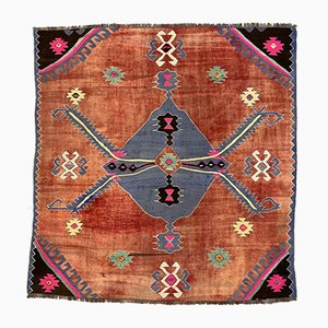 Large Vintage Turkish Blue, Pink, and Red Square Wool Kilim Rug, 1950s