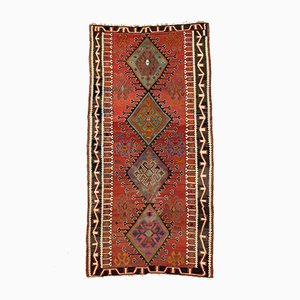 Large Vintage Turkish Red, Green, Black, and Brown Wool Kilim Rug, 1950s