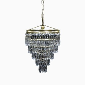 Art Deco Italian 5-Tier Crystal Glass Chandelier, 1930s